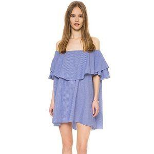 MLM Label Blue Gingham Off the Shoulder Dress